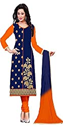 Aracruz Women's Clothing Designer Party Wear Low Price Sale Offer Blue Cotton Embroidered Free Size Unstitched Salwar Kameez Suit Dress Material