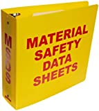 """Brady 2025 3"""" Diameter Rings, Polyethylene, Red On Yellow Color Standard MSDS Binder, Legend """"Material Safety Data Sheets"""""""