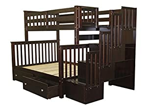 Bedz King Stairway Bunk Bed with 4 Drawers in The Steps and 2 Under Bed Drawers, Twin Over Full, Cappuccino