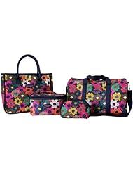 Jacki Design 4 Piece Travel Bag, Tote Bag And Cosmetic Bag Set,Travel Bags,Multi,ABX15037