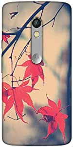 Snoogg Nature Leaves Red Designer Protective Back Case Cover For Motorola Moto X Play