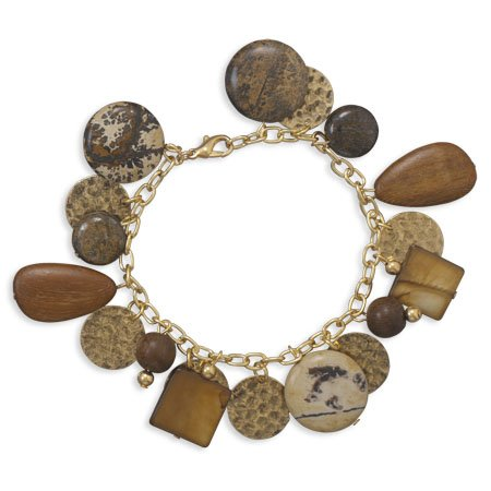 Gold Plated Charm Bracelet with Jasper Wood Shell Beads 7.5
