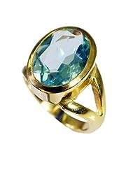 Riyo Blue Magnetic Blue Topaz Cz Fine Gold Plated Classic Day Rings Women 14 Gprbtcz7-92059