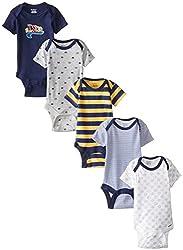 Gerber Baby-Boys Newborn 5 Pack Variety Onesie, Soccer, 0-3 Months