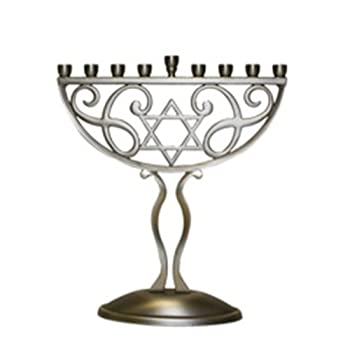 Rite-Lite Judaica Antique Silver Finish Menorah
