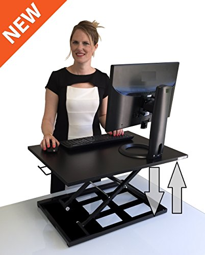 standing desk xelite pro height adjustable desk converter size 28in x 20in instantly convert any desk to a sit stand up desk black - Standing Desk Converter