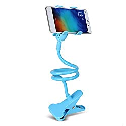 "Advent Basicsâ""¢ Universal Long Arms Flexible Lazy Mobile Stand Holder Support all Mobiles Wide Less Than 90mm For Your Bed Desk Table Multipurpose phone mount with mounting clip (Sky Blue)"
