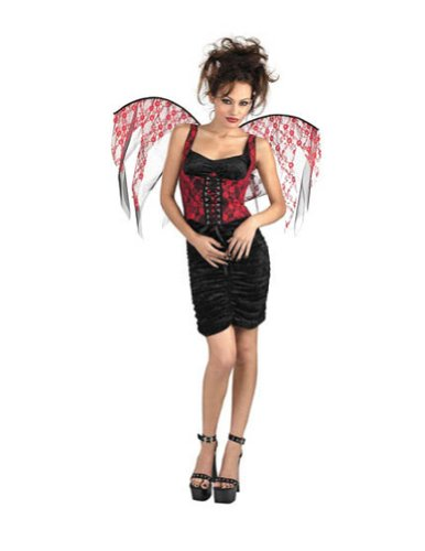 Costume-Accessory Wings Red Lace Black Corset Halloween Costume Item - 1 size