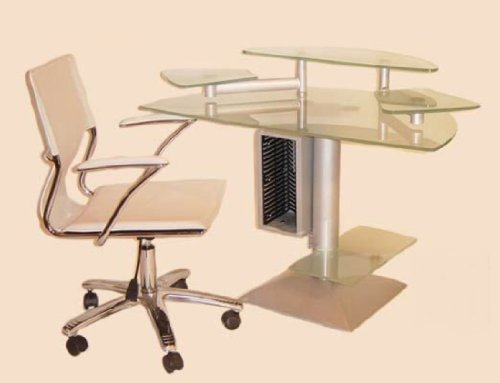 Buy Low Price Comfortable Chintaly Imports 6908-0648-SET Computer Desk with Frosted Glass Top and Swivel Arm Chair Set (B004Q1L602)