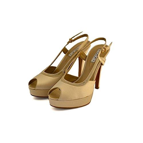 Decollete, sandali gioiello, Tiffi in raso platino, taglia: 40