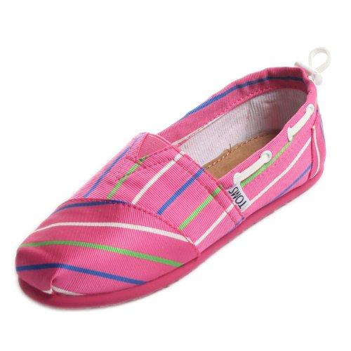 Toms - Youth Slip-On Pink Stripe Bimini Shoes, Size: 3 M US