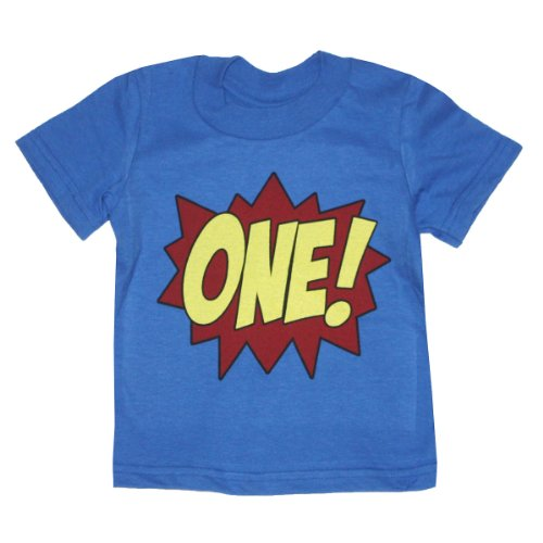 Happy Family Superhero First Birthday Kids T-Shirt (18 Months, Royal Blue) front-927625