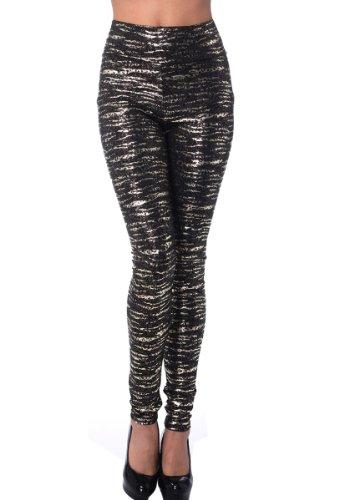 Cloris Murphy Womens Shiny High Waist Ankle Length Stretch Leggings (L, Metallic Leopard)