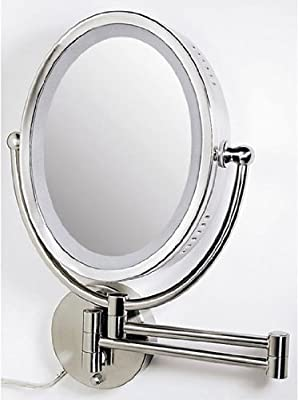 Best Cheap Deal for Zadro Lighted Oval Wall Mirror with Dimmer and 1X - 8X Magnification, Satin Nickel Finish from Zadro Health Solutions - Free 2 Day Shipping Available