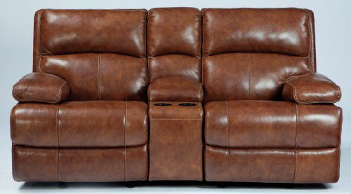 Lensar Glider Reclining Loveseat With Console Power/Nutmeg front-891257
