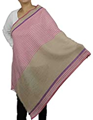 Shalinindia Scarf Women Accessory Indian Contemporary Striped Pattern Wool Silk Blend
