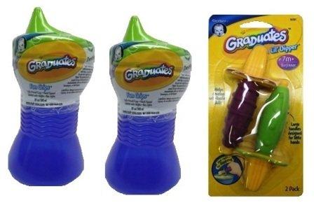 Gerber Graduates by NUK BPA Free Fun Grips Spill Proof Cup,10 Ounce,2 Pack,BLUE+ Gerber Graduates Lil' Dipper