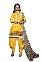 Shopping Point Yellow Cotton Anarkali Unstitched Dress Material