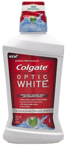 Colgate Optic White Mouthwash Sparkling, Fresh Mint, 16 Fluid Ounce