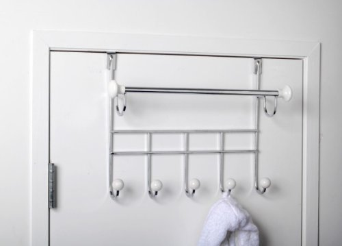 Over Door Hook Rack With Towel Bar And Ceramic Accents