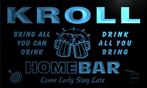 q24532-b KROLL Family Name Home Bar Beer Mug Cheers Neon Light Sign