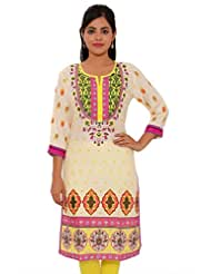 MSONS Womens Cream Base With Yellow Yoke Multi Printed Long Rayon Kurti