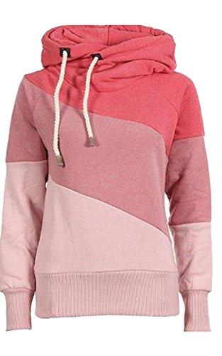 Ecowish da donna Patchwork, colore a contrasto Felpa con cappuccio Pink M