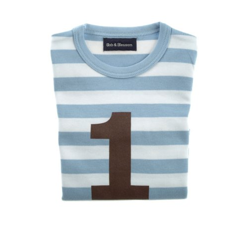 Bob and Blossom Blue & White Striped Numbers T-shirt 1-2y