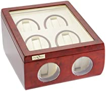 Diplomat Burl Wood Quad Watch Winder with Off-White Leather Interior