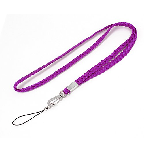 Fuchsia Fabric Decorative Pattern Mobile Phone Strap Lanyard w Hook