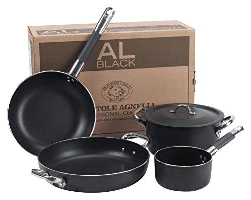 Pentole Agnelli ALSASETALBLACK4 Al Black 3 mm Set per 4 Persone, 5 Pezzi