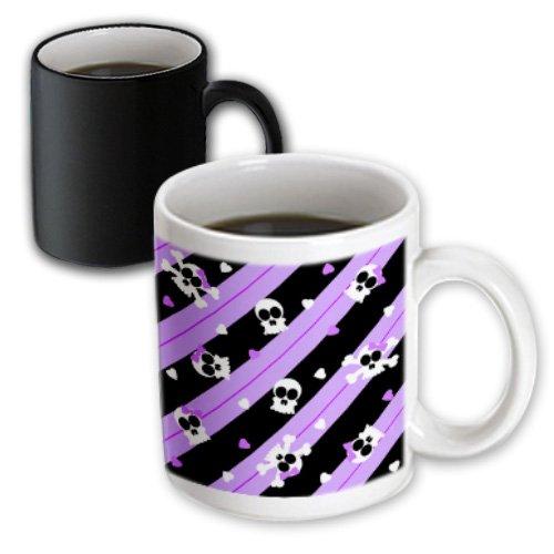 Mug_12143_3 Janna Salak Designs Gothic - Cute Purple Skull And Hearts Print - Mugs - 11Oz Magic Transforming Mug