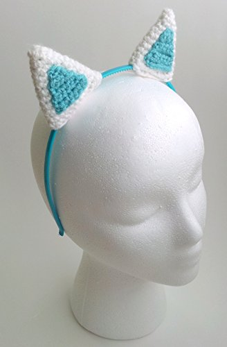 [Handmade crochet white and mint cat ears headband] (Homemade Halloween Costumes For Baby Girl)