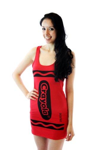 [Crayola Crayon Scarlet Red Juniors Costume Tunic Tank Dress (Juniors X-Large)] (Red Crayon Tank Dress Costume)