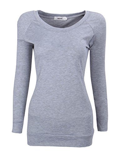 Bepei Women's Long Sleeve Raglan Crewneck Tunic Sweatshirt Top Gray 3XL