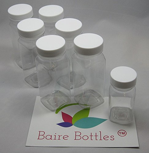 4 oz Clear Plastic Square Bottle with White Lid 6 pk (plus BONUS 2 oz Bottle) (4 Oz White Plastic Jar compare prices)