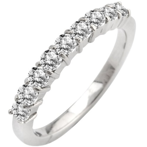 Size 8 - Inox Jewelry 316L Stainless Steel Eternity cz Band Ring