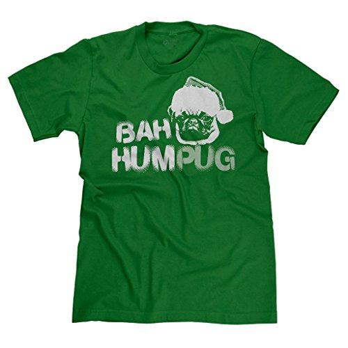 Freshrags Bah Humpug Ugly Christmas Sweater Pug Dog Lover T-Shirt 3X Green
