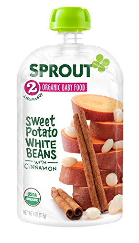 Sprout Organic Foods Stage 2 Pouches, Sweet Potato White Beans with Cinnamon  4 Ounce (Pack of 5)