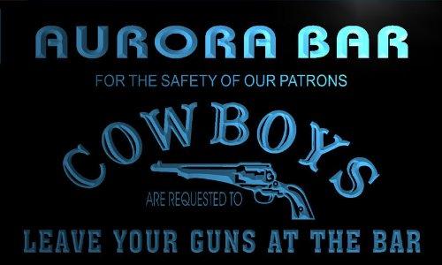 Qg2162-B Aurora Custom Cowboys Leave Guns Man Cave Led Bar Neon Beer Sign