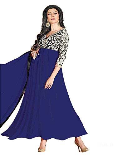 Fashion Kanya Women's Amazing Designer Long Simple Blue Semi stitch Anarkali Suits