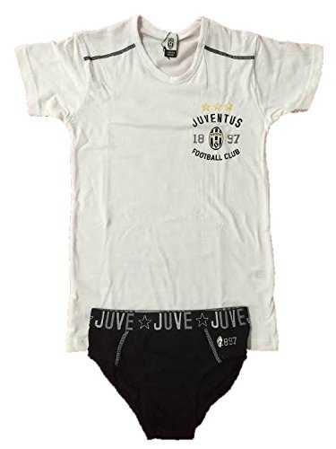 Completo intimo Juve ragazzo Juventus FC maglietta e slip *05372-14 anni-bianco