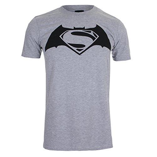 DC Comics Batman v Superman Logo, T-Shirt Uomo, Grey (Sport Grey), Medium