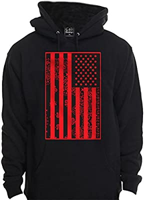Red Bandana American USA Flag Hoodie Hooded Sweatshirt USA Urban Wear Clothing