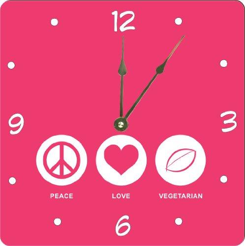 """Rikki Knighttm Peace Love Vegetarian Tropical Pink Color Design 13"""" Art Wall Clock front-637166"""