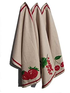 100% LUXURY | PERFECT GIFT IDEA - Set of three cotton tea towels (with 30% linen) - 50 cm x 70 cm - French retro style - (Red fruits)
