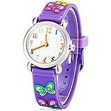 Readeel Analog Watch Purple Silicone Absolutely Environmentally Friendly Materials Battefly Band Kids Watch Cartoon Watch