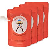 Reusable Food Pouch (4 Pack) - Smart Design, Easiest to Fill and Clean - Perfect for Baby, Toddlers, and Kids - BPA Free, PVC Free, Phthalate Free, Lead Free - Large 6 oz. Squeeze Containers with Spout and Clear/Transparent Back - Double Zipper Prevents Leaks - MONEY BACK GUARANTEE