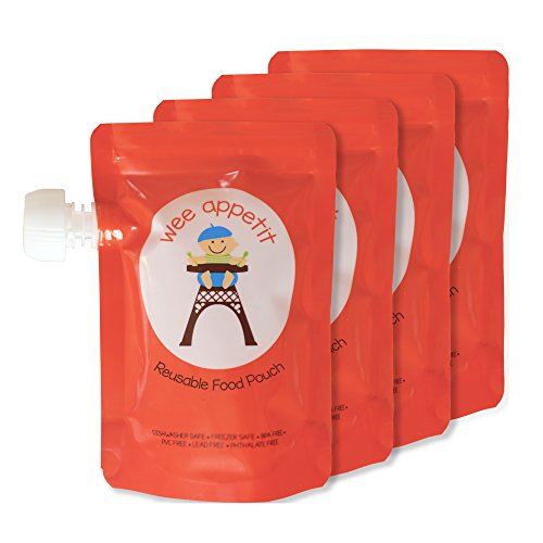 Wee Appetit Reusable Food Pouch for Babies, Toddlers, and Kids, 6 oz., Pack of 4