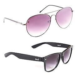 Elligator Stylish Spartiate Purple And Black Wayfarer Sunglasses Combo ( Set of 2 )